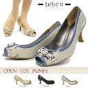 【あす楽】テーン tehen オープントゥパンプス TN1602 ビット飾り エナメル レディース 美脚 ハイヒール スネイク柄