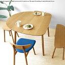 ダイニングテーブル【受注生産商品】幅89cm 111cm 133cmの3サイズ ナラ材 ナラ無垢材 半楕円形状のかわいらしい カウンターテーブルとしても使用できます LIPO-DT 外側に開いたスリム脚が開放感のあるお部屋を演出します