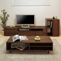 幅120cmウォールナット色収納棚付きリビングテーブルローテーブルセンターテーブルWeed-lt120