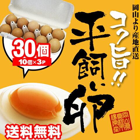 ●2000円ポッキリ●コク旨濃厚 平飼い卵30個入 10個包装×3 送料無料 たまご 玉子 卵 無選別 こだわり卵 たまごごはんにぴったりホワイトデー母の日ありがとうギフト