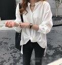 3色 ブラウス レディース シャツ ゆったり 長袖 おしゃれ 無地 春夏秋 ネイビー 白 カーキ オフィス 体型カバー フォーマル カジュアル