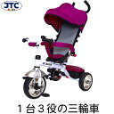 JTC 3in1 Tricycle (バイオレット) 三輪車 手押し棒 かじとり おしゃれ シンプル 子供 赤ちゃん 乗り物 乗用玩具 クリスマス 誕生日 プレゼント 1歳 2歳 3歳 4歳