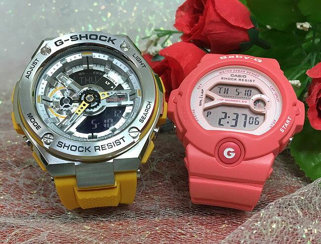 恋人たちのGショック ペアウオッチ かわいい G-SHOCK BABY-G ペア腕時計 カシオ 2本セット gショック ベビーg GST-410-9AJF BG-6903-4JF人気 ラッピング無料