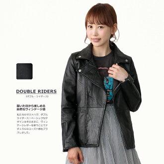 リプロダクトレザーベーシックダブルライダースジャケット / black ladies / leather / leather jacket / eco / recycling