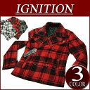 [three colors of 2 special price size] gi172 new article IGNITION shortstop length check wool blend pea coat jacket American casual P coat