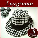 It is an ij251 new article [Laygroom] diamond checked pattern soft felt hat hat men lock hat [a special price!three colors]