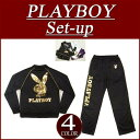 [4 four-colored size] nu231 new article PLAYBOY foil print piping jersey top and bottom set men setup all-in-one playboy filler PLAY BOY [smtb-kd]