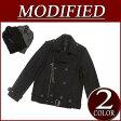 【2色3サイズ】 wu011 新品 MODIFIED ウール53% ショート丈 無地 メルトンウール ライダースジャケット メンズ ライダース コート ジャケット アメカジ ブルゾン 10P03Sep16