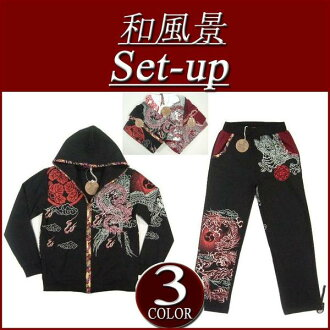 ix891 brand new Japanese landscape SsangYong embroidered tribal print Japanese pattern parka on bottom set mens Setup floral switching sweat parka all-in-one.