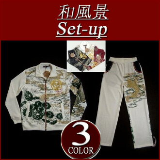 all-in-iy062 brand new Japanese landscape recoil Koi WA Crest print sum pattern Jersey upper and lower set men's Setup floral switching sum pattern Jersey floral crepe switching one