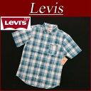 【2014春夏モデル! 4サイズ】 az011 新品 Levis 半袖 チェック BDシャツ メンズ USライン リーバイス SS COTTON POPLIN CHECK BD SHIRT DBLUE ボタンダウンシャツ チェックシャツ Levi's