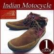 【9サイズ】 fw431 新品 Indian Motocycle LUMBEE ラムビーソール ファブリック×レザー コーデュロイ チェック柄切替 ネイティブ モカシン チャッカブーツ ID-629A メンズ & レディース インディアンモトサイクル スニーカー 10P27May16