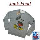 【US規格 4サイズ】 aa921 新品 JUNK FOOD ミッキーマウス ラグランスリーブ 裏毛 スウェットシャツ メンズ W2587-7889 MICKEY MOUSE D..