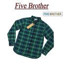 【3サイズ】 ja291 新品 FIVE BROTHER タータンチェック マチ付 長袖 ボタンダウンシャツ 1516036 メンズ ファイブブラザー TARTAN CHECK BD SHIRTS ブラックウォッチ チェックシャツ BDシャツ ワークシャツ