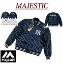 【2色3サイズ】 ja881 新品 MAJESTIC ニューヨーク ヤンキース ピンストライプ サテン スタジャン MM23-NYK-0078 メンズ マジェスティック MLB OFFICIAL WEAR NY ワッペン付 スタジアムジャケット スタジアムジャンパー