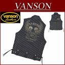 【2色4サイズ】 ny462 新品 VANSON ツイン フライングスカル 総刺繍 レースアップ ストライプ デニムベスト NVSV-501 メンズ バンソン ...