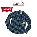 【4サイズ】 ac251 新品 Levis USライン 長袖 チェック ウエスタンシャツ メンズ リーバイス BROWARDS L/S CHECK WESTERN WOVEN SHIRT CAVIAR チェックシャツ Levi's 【smtb-kd】