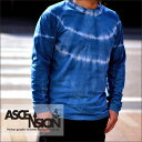 ASCENSION(アセンション)インディゴロングTシャツ【Aurora Border】(藍染・インディゴ染め・メンズ(mens)・レディース(ladys)・Tシャツ(T-shirt)・タイダイ・TIE-DYE(tie dye)・アウトドア(outdoor)as-483