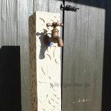 【立水栓】アジアンガーデンのアクセントに、砂岩風のレリーフが美しい水栓柱「花花」がおすすめ。お庭の水道もお洒落になります。【ガーデニング】【ガーデン】【エクステリア】