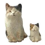 【お庭に飾りたくなるかわいいアニマル置物】「信楽焼 三毛猫 親子」