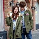 二点送料無料/韓国ファッション カップル ペアルック 中綿ジャケット メンズ 3色 レディース ロン