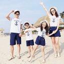二点送料無料/夏親子ペアルック ボーダー半袖Tシャツ +ショートパンツ二点セット 家族お揃い /メンズレディーストレーナー 海リゾート風カジュアル衣装