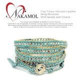 【メ】【jg】【 NAKAMOL ブレス 】 ナカモル ビーズ&チェーン5連レザーラップブレスレット《Five Times Intricate Leather Wrap Bracelet With b