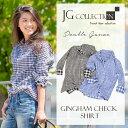 レディース シャツ 長袖 ギンガムチェック ダブルガーゼ JGコレクション Double Gauze Gingham Check Shirt ブルー ブラック コットンガーゼ カジュアルシャツ JG Collection