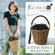 【送料無料】JG コレクション レディース かごバッグ 籐 バケツ型 JG Collection ブラウン