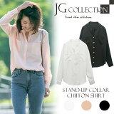 ��ǥ���������� ���ե���� �Ρ����顼 JG Collection �ۥ磻��/�֥�å�/�ԥ� Stand-up Collar Chiffon Shirt �ۥ磻�� �ޥ����顼 ��Ͳİ��� ���쥤�� ��鴶 ������б�����