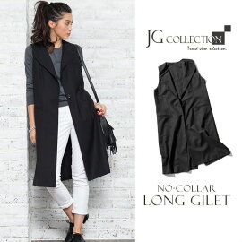 ��n�ۥ�ǥ���������٥��ȥ�󥰥Ρ����顼JG���쥯������No-CollarLongGilet�ե�ǥ���������������JGCollection�ۥ֥�å�/�١�������ͤΤ�����ꥹ������
