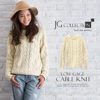女式針織長套筒電纜編織 JG 集合圓領掉白色電纜編織毛衣成人可愛美麗的豪華成分精細感