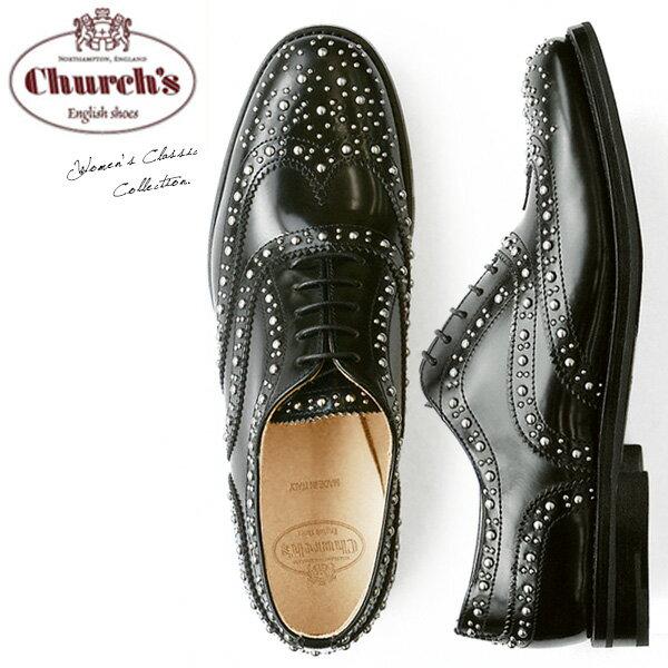 チャーチChurch's レディース オックスフォード エナメル おじ靴 レースアップ スタッズ Burwood Met Black Polished Binder メタル スタッズ がぎっしり施された モード デザイン 上質レザー 使用 安定感|レザーシューズ送料無料