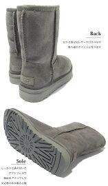 【n】レディースムートン【UGG/アグ】ムートンブーツシープスキンミディアムクラシックショート《ClassicShort》ブラック/ネイビー/グレーUS5/6/7/8/9ムートンブーツセレブ愛用ブランド定番革靴