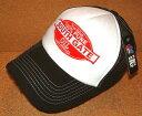 CHIPPS COMPANY/チップスカンパニー 「PEACE CAP/ピースキャップ」 アメカジ!ビンテージ加工 刺繍ワッペン付き メッシュキャップ (BLACK×WHITE) ベースボールキャップ 帽子 USED加工 クラッシュ加工 バイカー ホットロッド ブラック ホワイト 黒 白