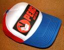 CHIPPS COMPANY/チップスカンパニー 「PEACE CAP/ピースキャップ」 アメカジ! プリント入り メッシュキャップ (WHITE×BLUE×RED) ベースボールキャップ 帽子 バイカー ホットロッド ホワイト 白 レッド 赤 ブルー 青