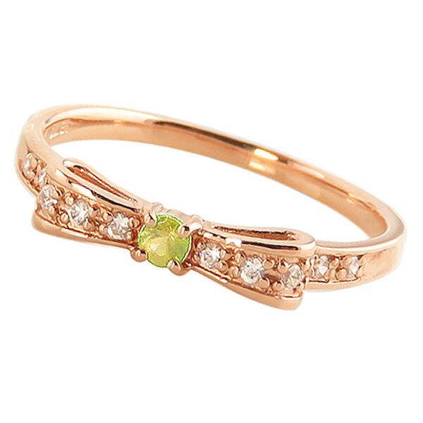 ペリドットリング 8月誕生石 10金 リボンモチーフ ダイヤモンド K10 ピンキーリング カラーストーン ギフト ペリドット リング 8月誕生石 カラーストーン 指輪 送料無料