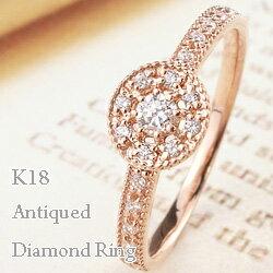 18金 ダイヤモンド リング 指輪 Diamond 取巻き K18WG K18PG K18YG 人気 アンティーク ギフト