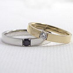 結婚指輪 ゴールド 一粒ダイヤモンド ブラック...の紹介画像2