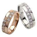 結婚指輪 ゴールド クロス ダイヤモンド 幅広 ペアリング ピンクゴールドK10 ホワイトゴールドK10 マリッジリング 10金 2本セット ペア 文字入れ 刻印 可能 婚約 結婚式 ブライダル ウエディング クリスマス プレゼント ギフト