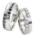 結婚指輪 ゴールド クロス ダイヤモンド ブラックダイヤモンド 幅広 ペアリング ホワイトゴールドK10 マリッジリング 10金 2本セット ..