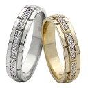 結婚指輪 ゴールド バンドデザイン ダイヤモンド ペアリング イエローゴールドK10 ホワイトゴールドK10 ベルト マリッジリング 10金 2本セット ペア 文字入れ 刻印 可能 婚約 結婚式 新生活 在宅 ファッション