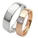 結婚指輪 ゴールド 一粒ダイヤモンドリング 0.2ct 平打ち ペアリング ピンクゴールドK18 ホワイトゴールドK18 マリッジリング 18金 2本セット ペア 文字入れ 刻印 可能 婚約 結婚式 ブライダル ウエディング ギフト バレンタインデー ホワイトデー