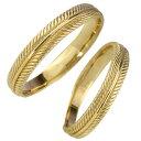 ショッピングペアリング 結婚指輪 ゴールド フェザー 羽根 ペアリング 18金 マリッジリング 2本セット ペア 文字入れ 刻印 可能 婚約 結婚式 ブライダル ウエディング バレンタインデー プレゼント