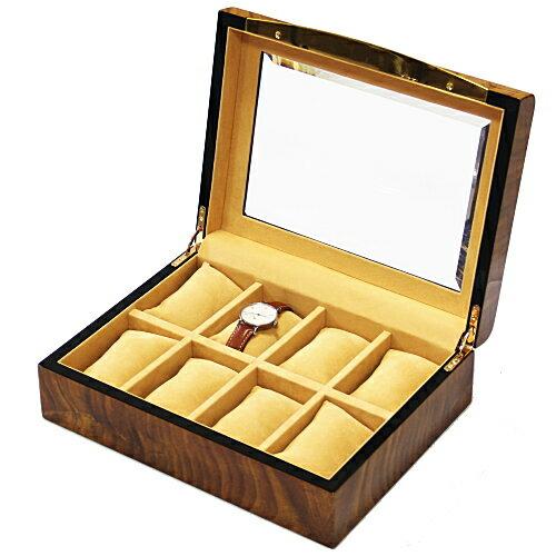 木目調 ウォッチコレクションボックス 8本 クリアトップ