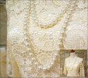 ホワイトデー ビッグパール2連ロングネックレス150cm ロ...