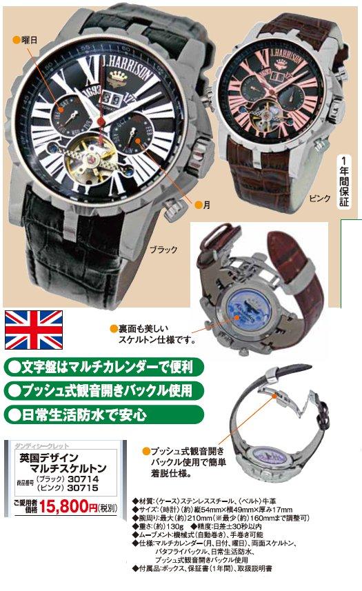 英国デザイン マルチスケルトン 機械の動きも美しいスケルトン時計