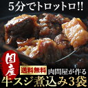 送料無料 国産牛スジ煮込み3食セット 180gパック×3食【02P03Dec16】