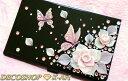 ◆華麗な3Dアートとスワロフスキー【ピンクの薔薇とアゲハ蝶】デコ 名刺ケース レディース 黒 ブラッ