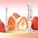 大粒の苺を丸ごと いちご餅(10個・サービス箱)[[いちご大福/羽二重餅/いちごもち/イチゴ餅/苺餅]